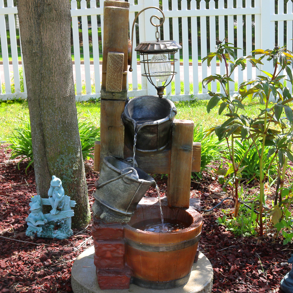 Sunnydaze Rustic Pouring Buckets Outdoor Water Fountain with Solar Lantern, 34 Inch Tall by Sunnydaze Decor