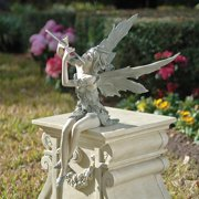 Design Toscano Fairy of the West Wind Sitting Garden Statue, 19 Inch, Polyresin, Two Tone Stone