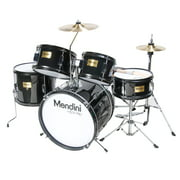 "Mendini by Cecilio 16"" 5-Piece Complete Kids / Junior Drum Set with Adjustable Throne, Cymbal, Pedal & Drumsticks, Metallic Black, MJDS-5-BK"