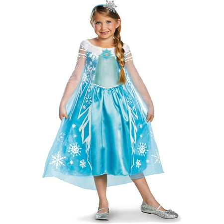 Disney Frozen Deluxe Elsa Costume With Headband Medium - Elsa Costume Deluxe