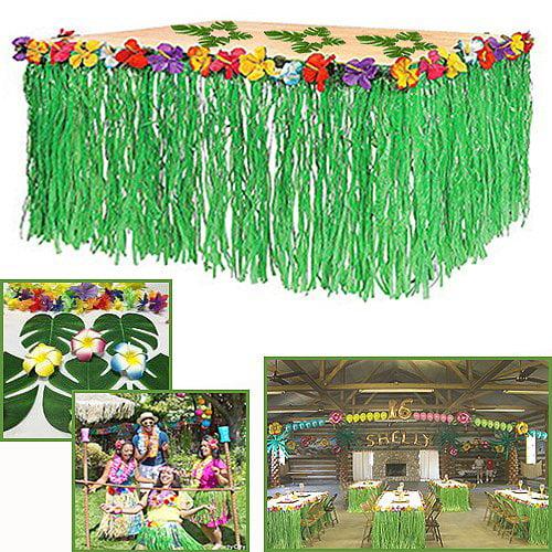 Adorox 1 Table Skirt Hawaiian Luau Hibiscus Green Table Skirt 9ft Party Decorations (Green (1 Table Skirt)) - image 1 de 1