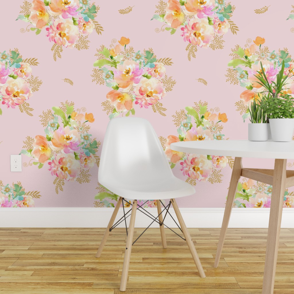 Wallpaper Roll Pink Floral Gold Cottage Chic Flowers Boho Baby