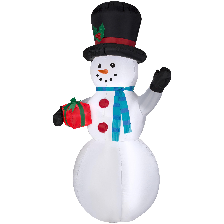 Gemmy Christmas 10 W Airblown Inflatable Winter Carolers: Christmas Light Up Large Inflatable Airblown Snowman Santa