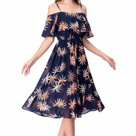 One Sight Casual Floral Boho Midi Dress, Off Shoulder Spaghetti Strap Knee Length Dress for Vacation