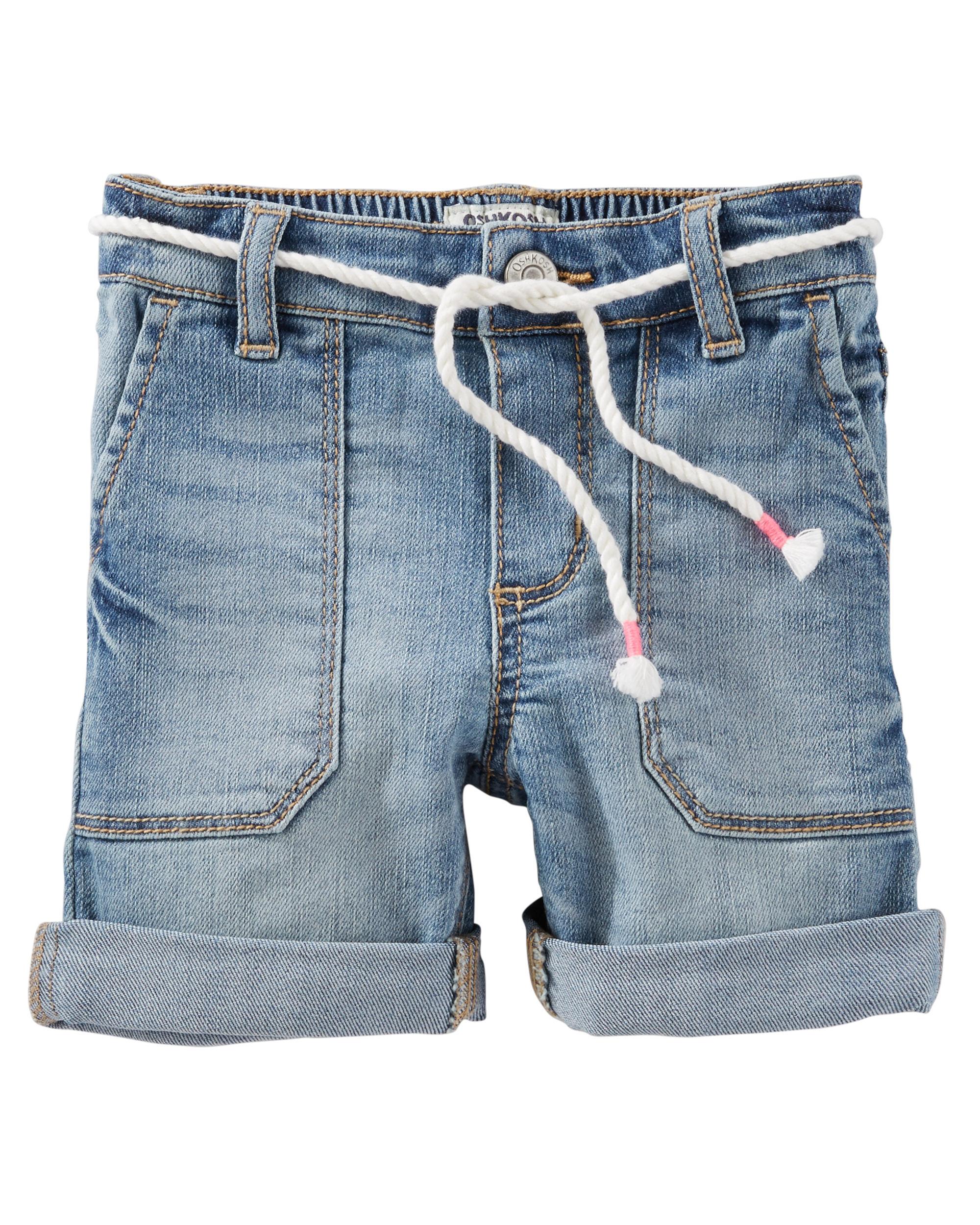 OshKosh B'gosh Baby Girls' Stretch Denim Shorts, 12 Months
