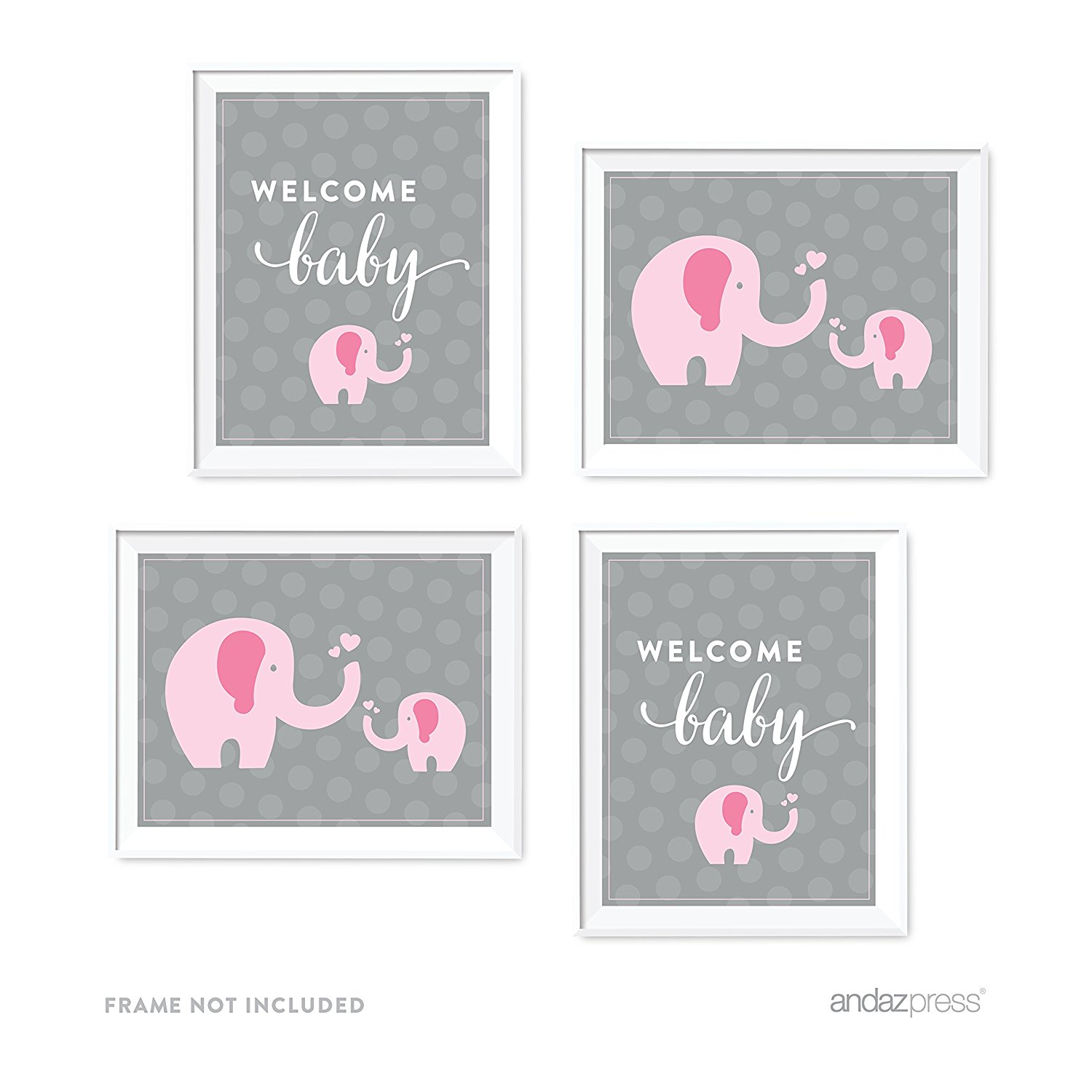Pink Girl Elephant Baby Shower Party Signs & Graphic Decorations, 4-Pack