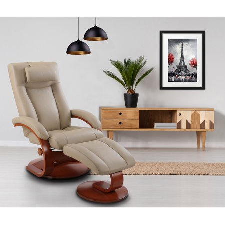Newridge Home Goods Hanover Recliner And Ottoman With Pillow In Leather Walmart Com Walmart Com