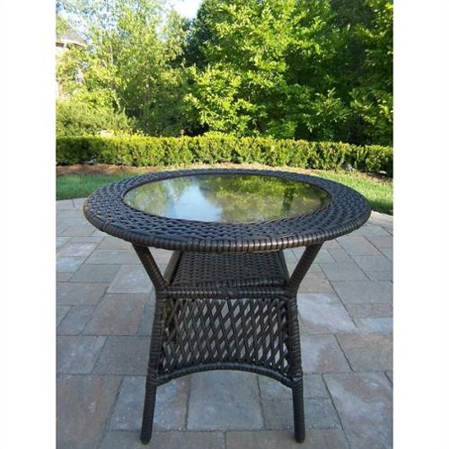 Oakland Living Elite All-Weather Wicker Round Coffee Table