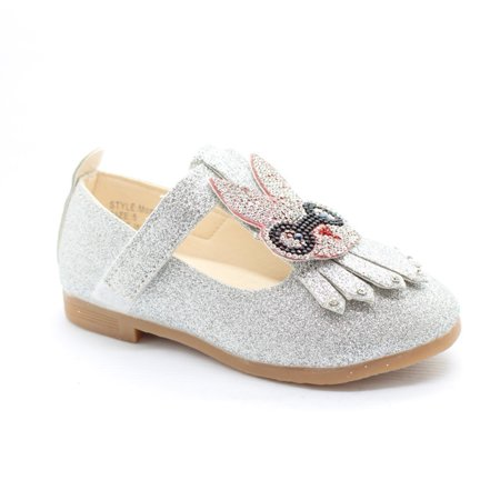 Little Girls Silver Studded Bunny Detail T-Strap Dress Shoes