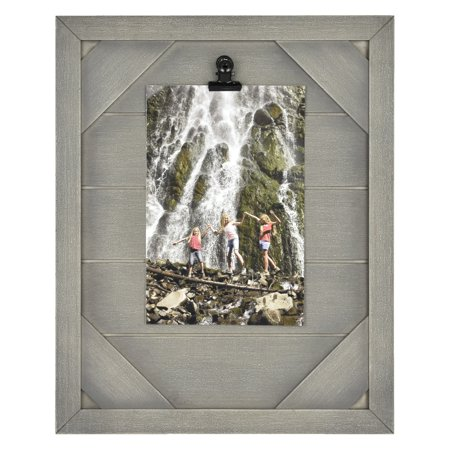 "Mainstays 5"" x 7"" Tabletop Clip Picture Frame, Rustic Gray"