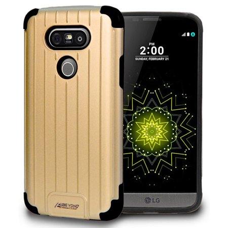 LG G5 CASE, GOLD MATTE METALLIC SLIM DUO-SHIELD CASE RUGGED RIBBED HYBRID COVER FOR LG G5 PHONE (Sprint LS992, Verizon VS987, AT&T H820, T-Mobile H830, US Cellular US992)