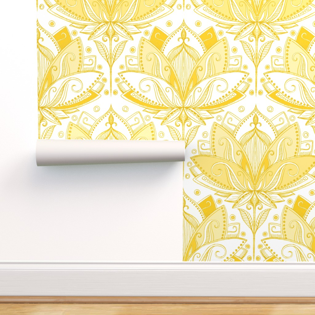 Peel And Stick Removable Wallpaper Yellow Lotus Flower Art Deco