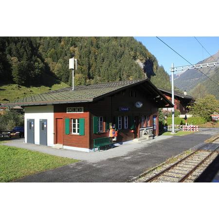 Train Mountain Railroad - Canvas Print Mountain Railway Train Station Mountain Switzerland Stretched Canvas 10 x 14