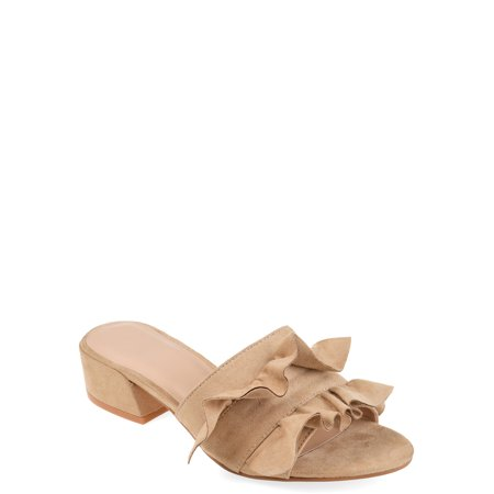 Brinley Co. Womens Ruffle Faux Suede Slide-on Mules