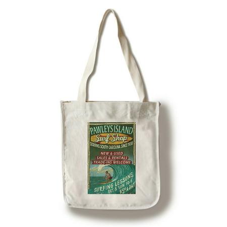 Pawleys Island, South Carolina - Surf Shop Vintage Sign - Lantern Press Artwork (100% Cotton Tote Bag - Reusable)