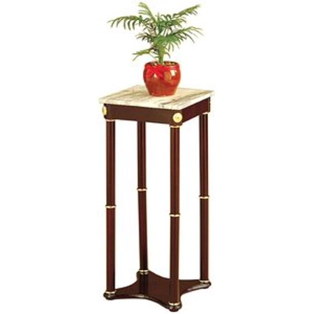 Legacy Decor 28 Inch Cherry Wood Square Plant Stand, Telephone Stand, Vase Stand with Square White Marble - Square Marble Stand