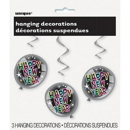 26   Hanging Swirl Happy New Year Decorations  3 Count