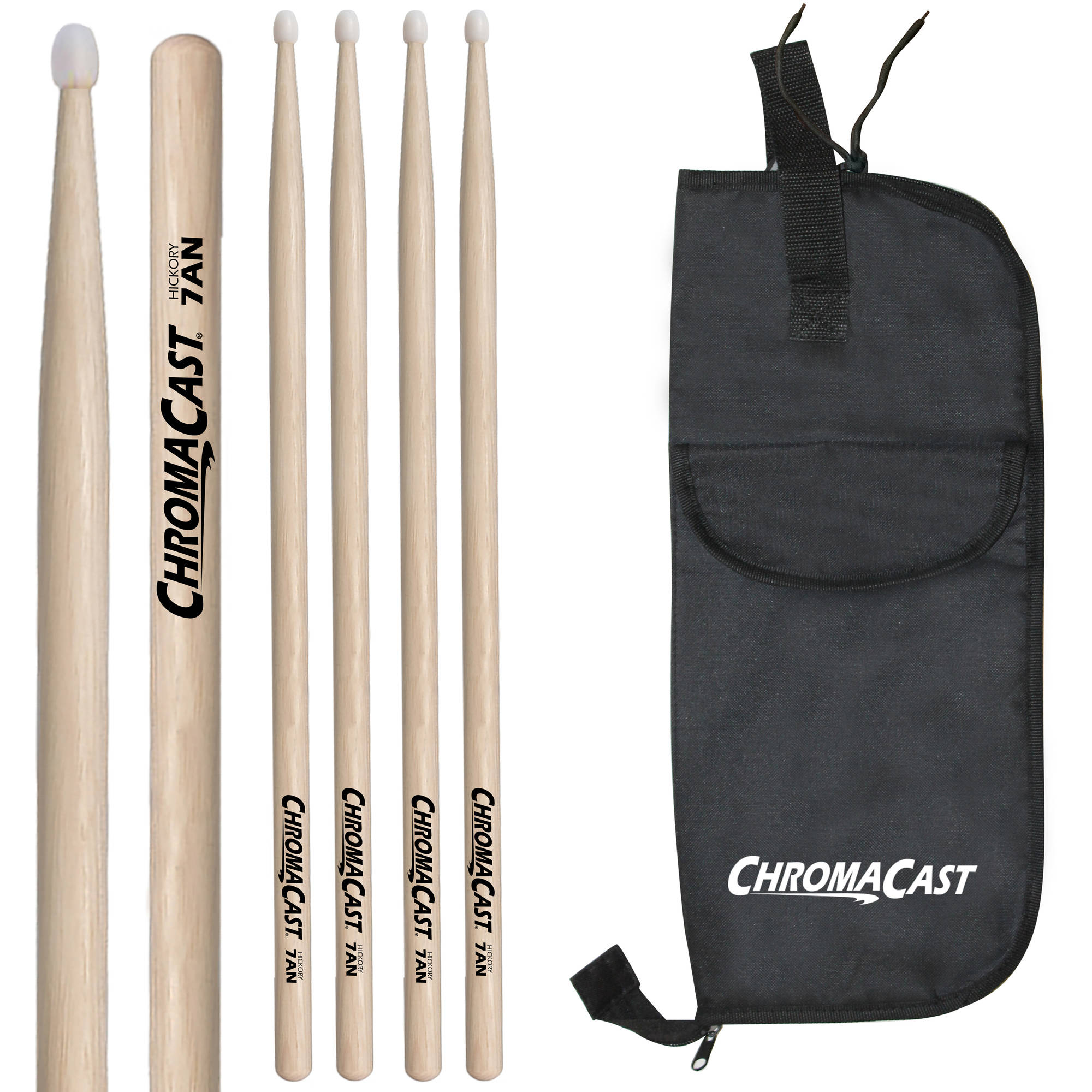 ChromaCast 5A Hickory Nylon-Tipped Drumsticks, 3 Pairs with Drumstick Bag by ChromaCast