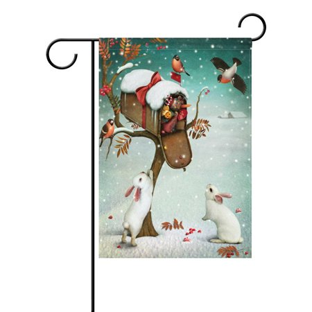 POPCreation Christmas Rabbit Bunny Garden Flag Mailbox Winter Forest Bird Outdoor Flag Home Party 28x40 inches