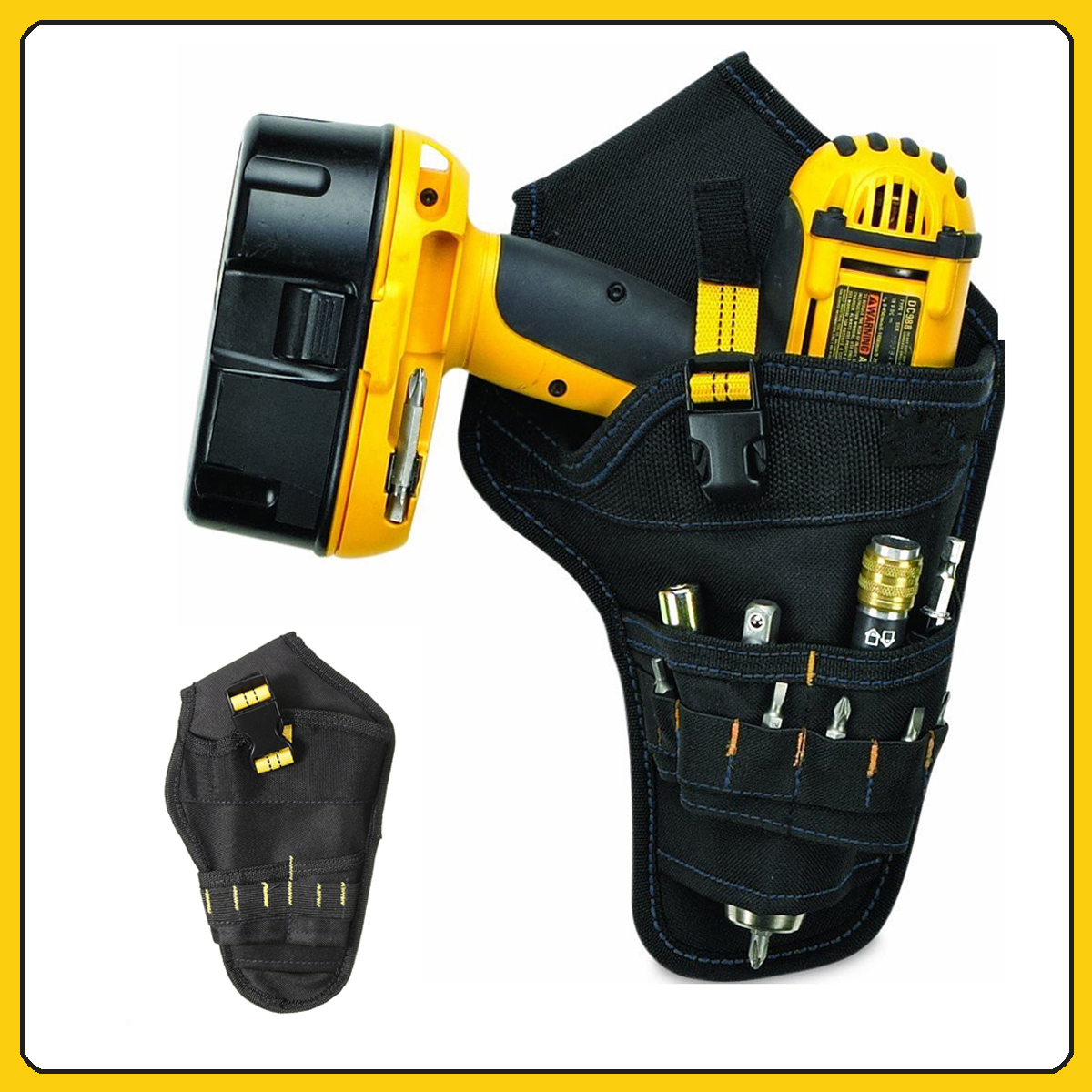 Drill Cordless Tool Holder Heavy Duty Black Belt Pouch Bag Pocket