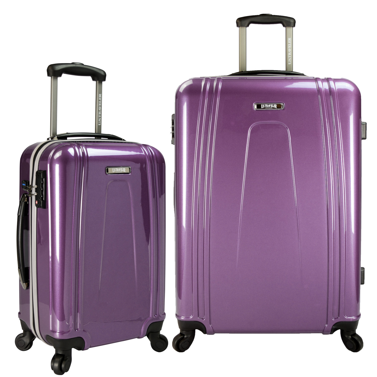 Travelers Choice US09037L 2-Piece USB Port EZ-Charge Spinner Set, Purple