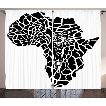 Safari Decor Curtains 2 Panels Set, Illustration Of Africa Continent Map As A Animal Skin Wilderness Species Art Print, Living Room Bedroom Accessories, Gift Ideas, By Ambesonne - Safari Ideas