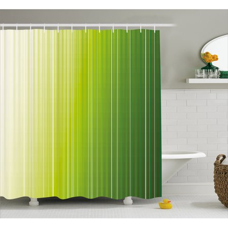 Sage Shower Curtain Ombre Style Composition With Color Shades And Vertical Digital Stripes Fabric