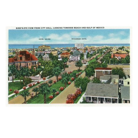Galveston, Texas - Aerial View from City Hall Towards the Beach and Gulf of Mexico, c.1947 Print Wall Art By Lantern