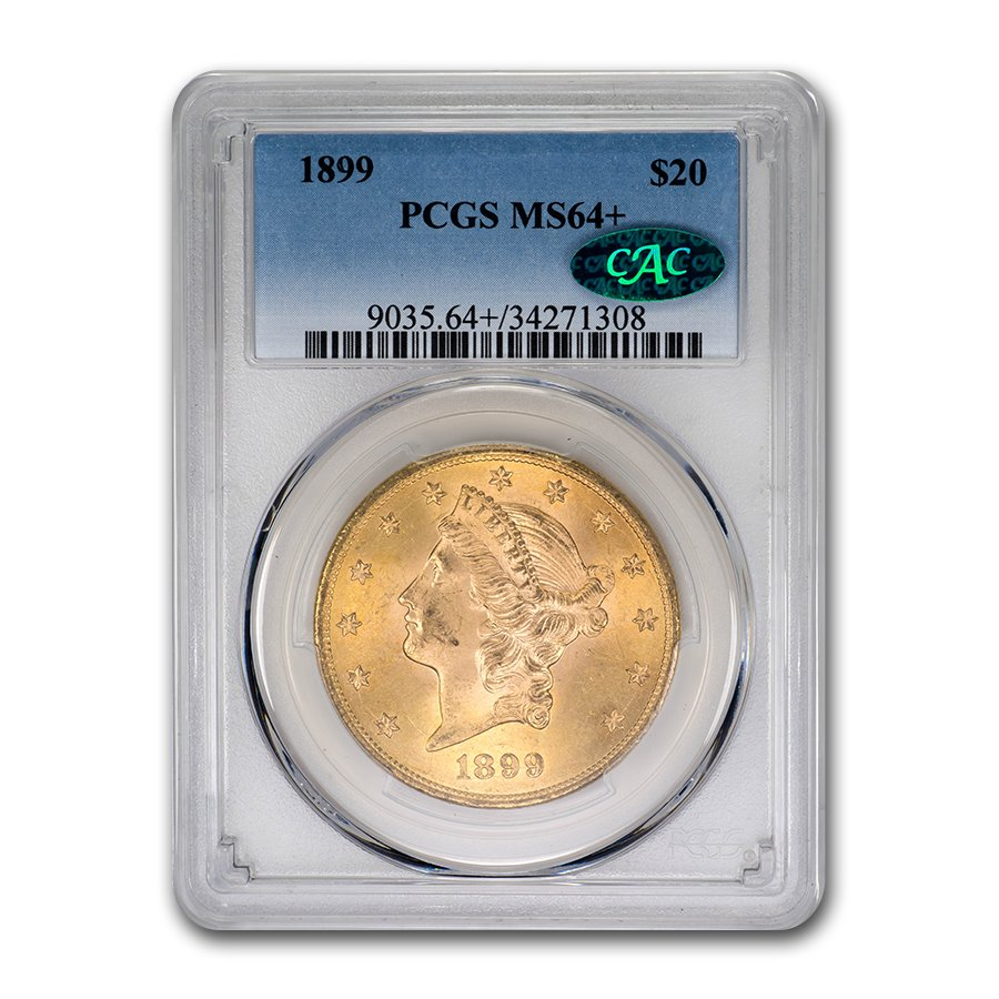 1899 $20 Liberty Gold Double Eagle MS-64+ PCGS CAC