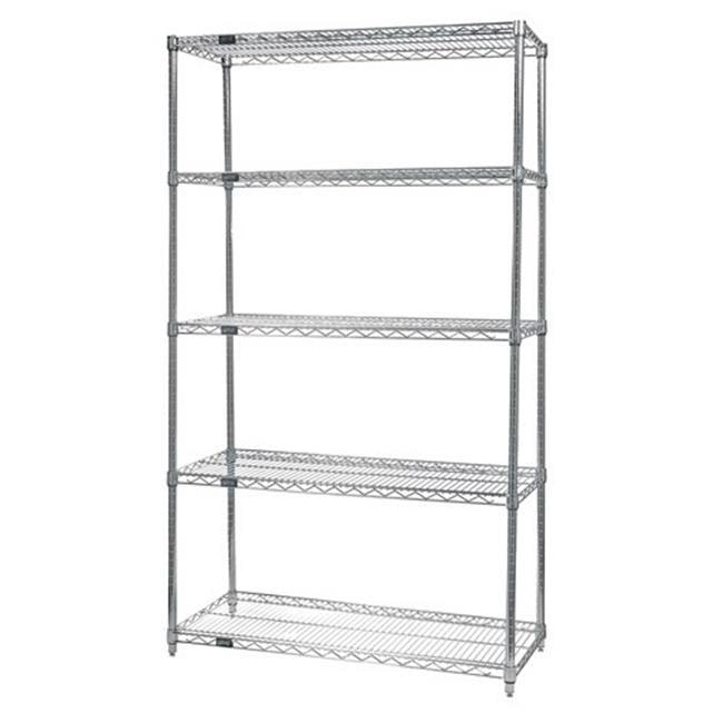 Chrome Wire Shelving Posts | Quantum Storage Wr74 1260c 5 5 Shelf Chrome Wire Shelving Unit