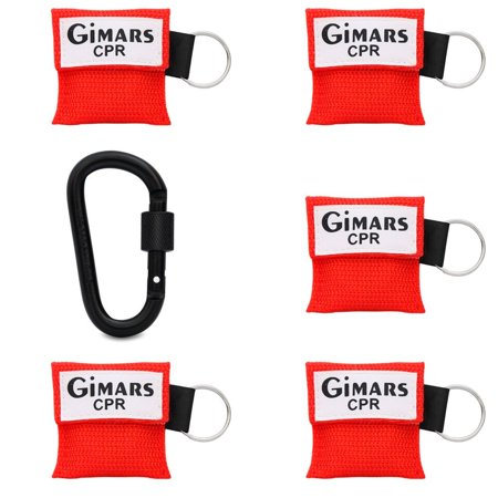 Gimars CPR Face Mask Rescue Face Shield Emergency Survival Kit with One-way Valve CPR Breathing Shields Key Chain for First Aid AED CPR Trainning Resuscitator,5 Pack