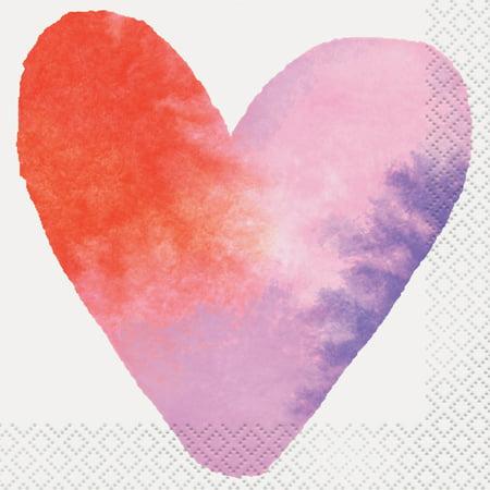 Watercolor Hearts Valentine's Day Paper Beverage Napkins, 5 in, - Paper Valentine