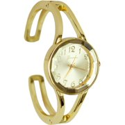Geneva Womens Gold Tone Cuff Watch One Size Gold tone