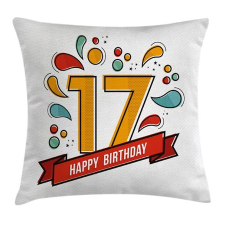 17th Birthday Decorations Throw Pillow Cushion Cover Digital Pop Art Print Seventeen Party With Floral Details Image Decorative Square Accent Case