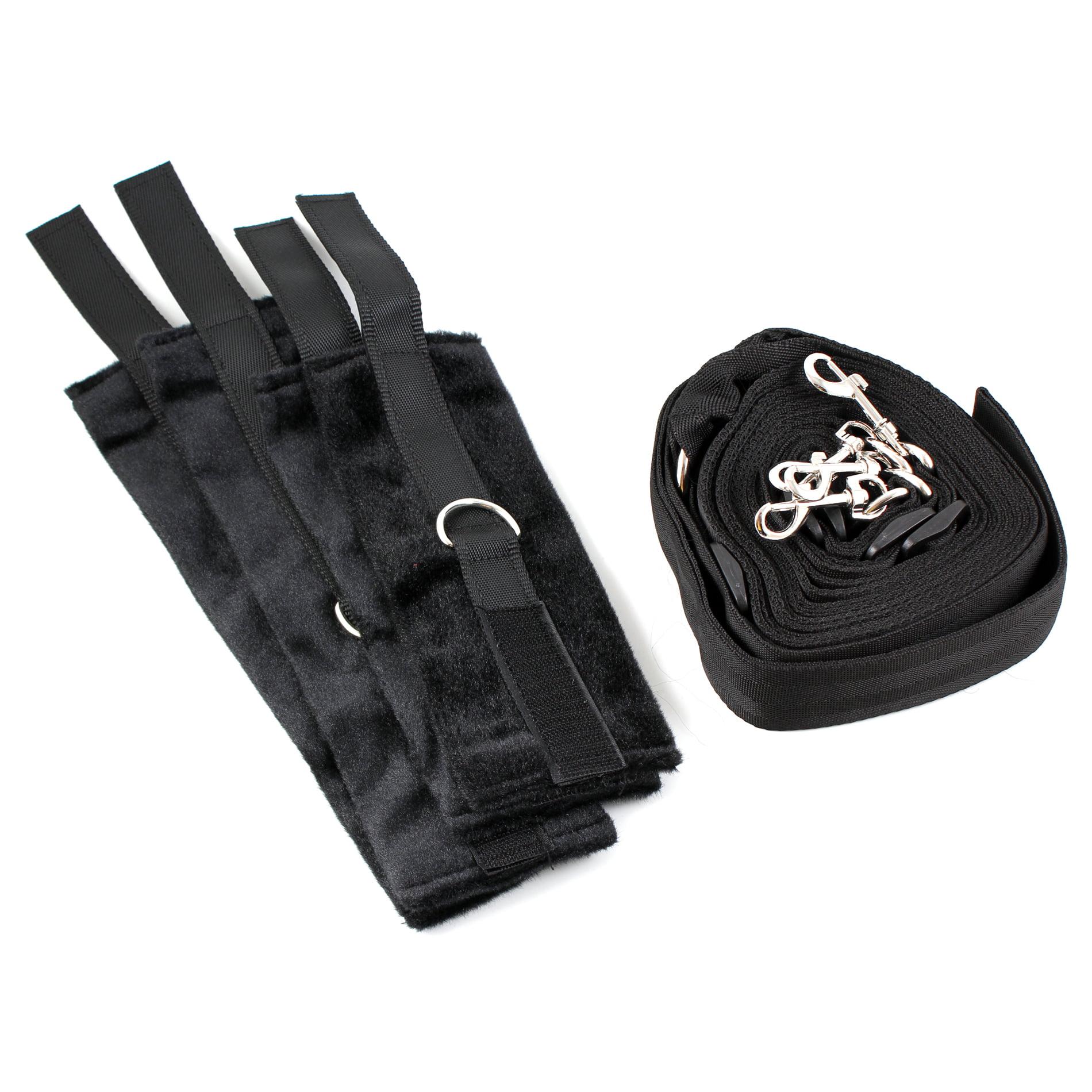 Black Underbed Sex Restraining Set Straps SM Handcuffs Leg Cuffs for Couples