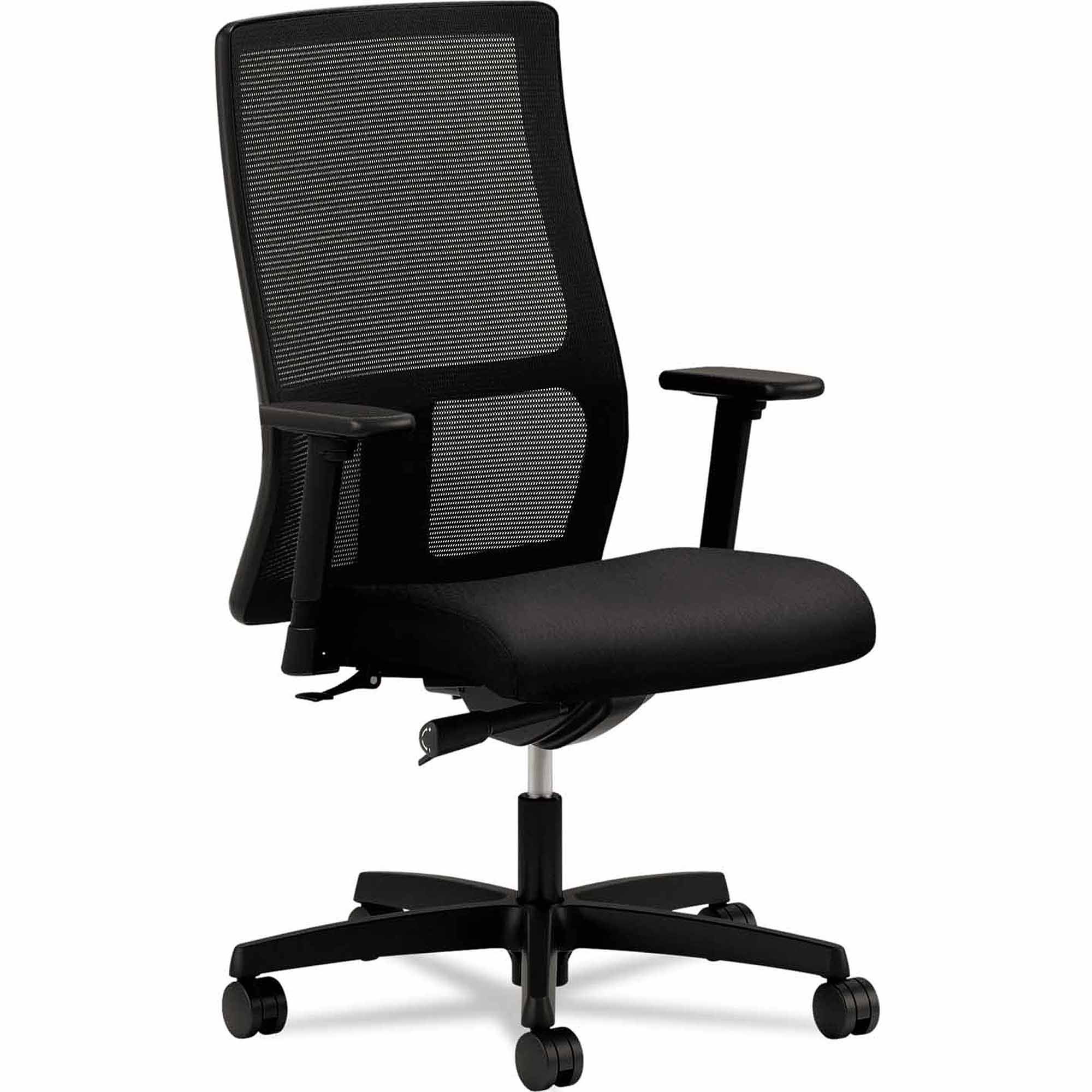 Hon Ignition Series Mesh Mid-Back Work Chair, Black Fabric Upholstered Seat