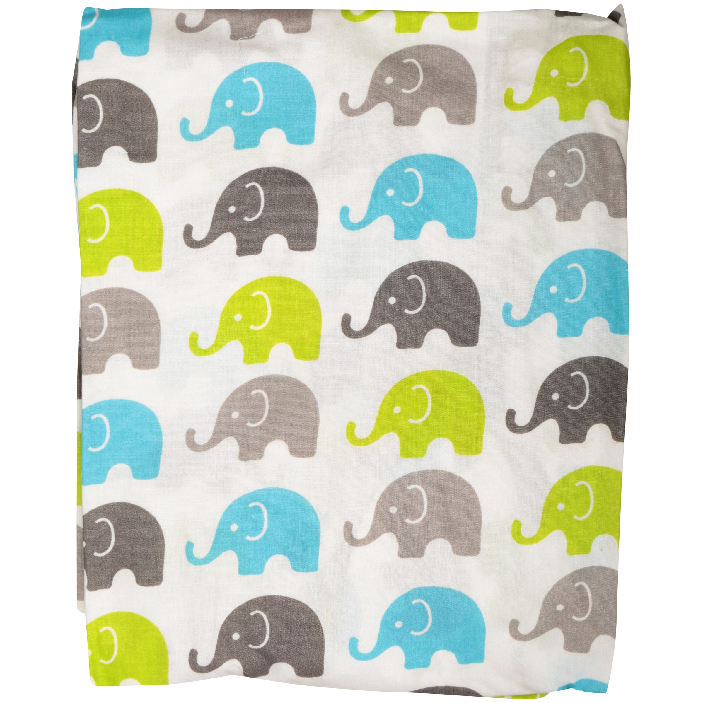 Bacati Aqua, Lime & Grey Mini Elephants Crib Fitted Sheets 2 ct Package