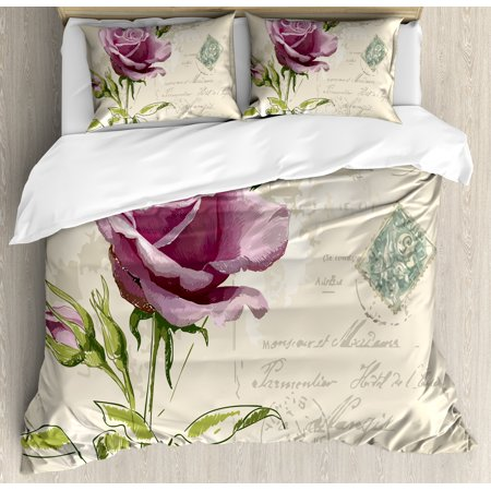 Rose Duvet Cover Set, Vintage Postcard Design with Delicate Rose Blossom  Hand Drawing Artsy Print, Decorative Bedding Set with Pillow Shams, Tan  Pale