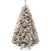 Best Choice Products 4.5ft Pre-Lit Holiday Christmas Pine Tree with Snow Flocked Branches, 200 Warm White Lights