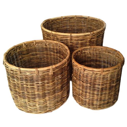Wald Imports Round Natural Croco Sumatra Baskets with Handles (Set of 3)