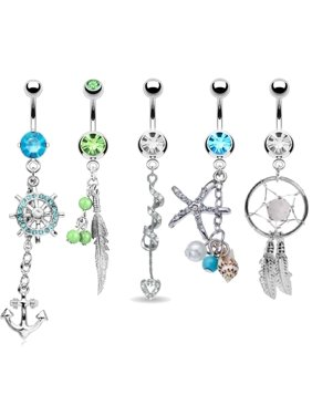 Product Image BodyJ4You Belly Button Rings Tribal Dangle Navel 14G Piercing Jewelry 5 Pieces