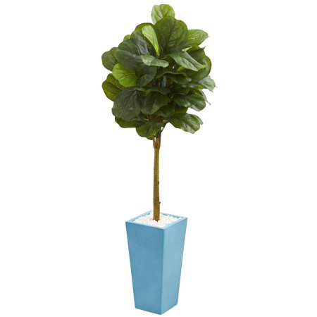 - Nearly Natural 4' Fiddle Leaf Artificial Tree in Turquoise Planter (Real Touch)