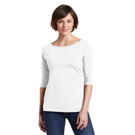 District Made® Ladies Perfect Weight® 3/4-Sleeve Tee. Dm107l Bright White Xs - image 1 of 1