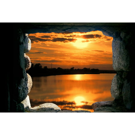 Halloween Photo Montages (LAMINATED POSTER Landscape Window Photo Montage Cave Sunset Poster Print 24 x)
