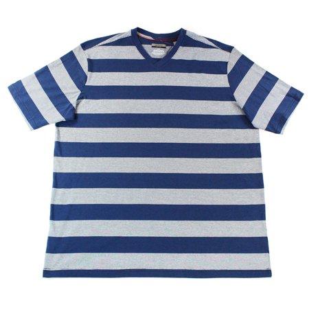 Alfani new blue gray mens xlt big and tall striped v neck for Mens xlt t shirts