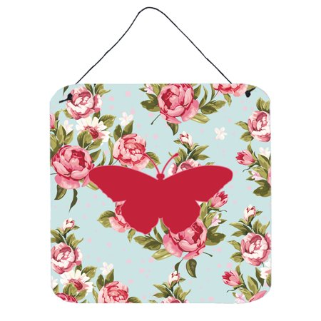 Butterfly Shabby Chic Blue Roses Wall or Door Hanging Prints BB1050