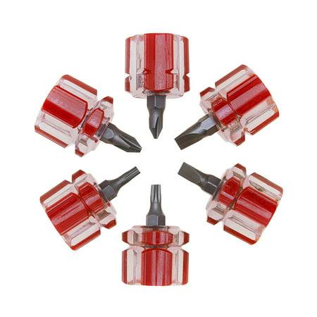 Hiltex 01352 6 Piece Short Mini Stubby Screwdriver Set, CR-V Construction | Compatible with Phillips, Torx, Flat
