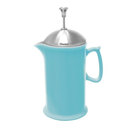 Chantal Ceramic French Press with Stainless Steel Plunger and Lid, Aqua (Chantal Ceramic)