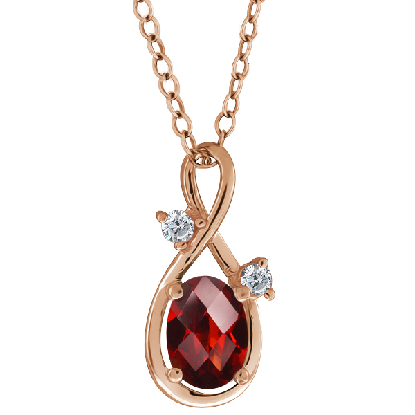 0.86 Ct Checkerboard Red Garnet and Diamond Gold Plated Silver Pendant