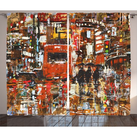 Panel Urban Lights - Fantasy Art Decor Curtains 2 Panels Set, Urban Abstract Picture with Tramway and Human Crowd Cityscape Traffic Lights, Window Drapes for Living Room Bedroom, 108W X 84L Inches, Multi, by Ambesonne